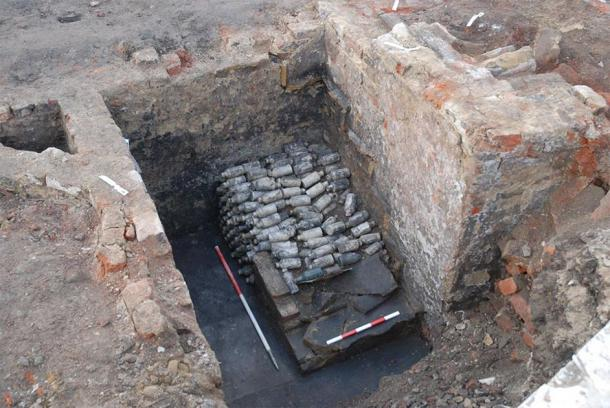 Hundreds of bottles of poisonous beer have been found at the site in Leeds, England. (Archaeological Services WYAS)