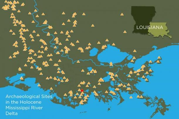 Hundreds of ancient mound sites, depicted here with yellow triangles, still survive in coastal Louisiana. A new study teases out the natural and human history of one of these mound-top villages, a site known as Grand Caillou, shown in red. Image: Graphic by Julie McMahon after Mehta and Chamberlain.