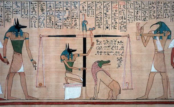 Hunefer's Book of the Dead, detail from Anubis to Thoth.