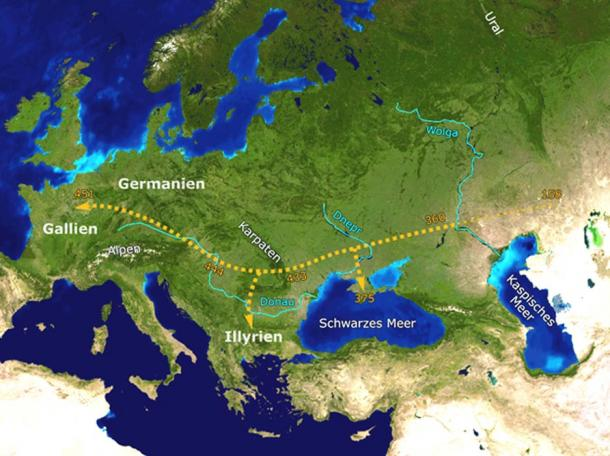 A suggested path of Hunnic movement westwards.
