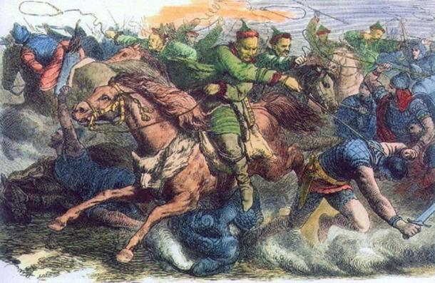 'Huns in battle with the Alans.' An 1870s engraving after a drawing by Johann Nepomuk Geiger.