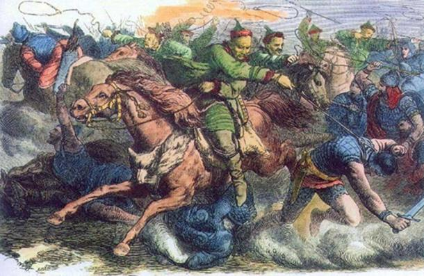 Huns in battle with the Alans, 1870s engraving after a drawing by Johann Nepomuk Geiger (1805-1880).