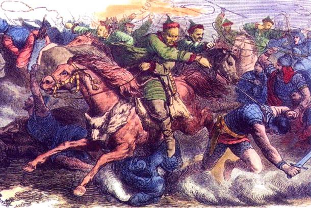Huns in battle with the Alans. An 1870s engraving after a drawing by Johann Nepomuk Geiger.