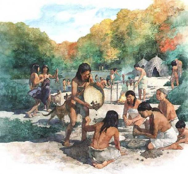 'Hunter gatherers at a campsite.'