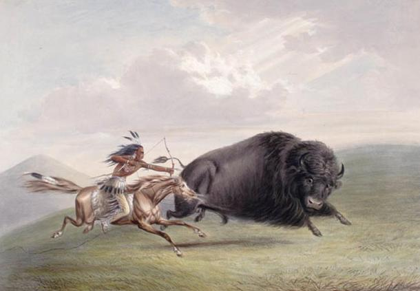 1844 Hunting Bison in USA by George Catlin.