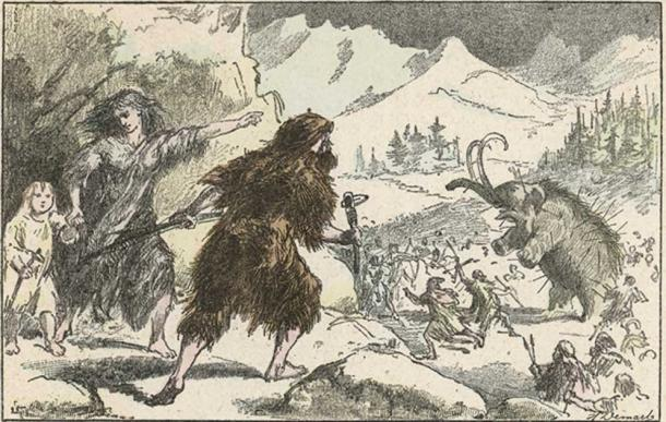 Hunting mammoth during the Ice Age. Date: circa 11 000 BC. (Archivist /Adobe Stock)