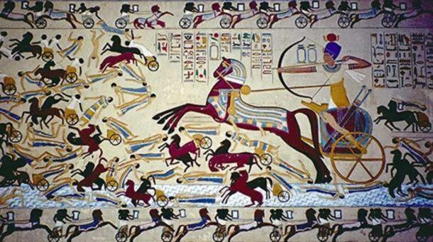 Hyksos chariot painting. Egyptians found a way around the difficulty of staying on a horse by using chariots.