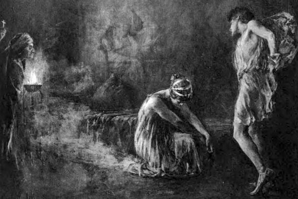 llustration from an 1899 edition of Charles Kingsley's 1853 novel Hypatia. Picture shows Hypatia performing a pagan ritual