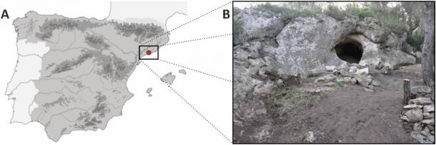 The location of the cave and the cave entrance where the Cova Foradada skull was found. (International Journal of Paleopathology)