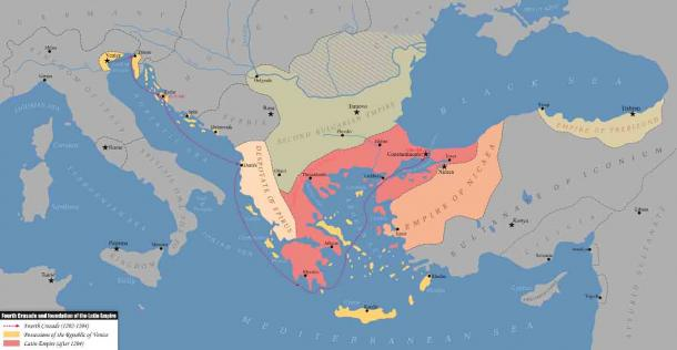 The Fourth Crusade and foundation of the Latin Empire (1202-1204 AD), which gave rise to the Empire of Trebizond. (Kandi / CC BY-SA 4.0)