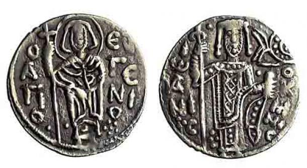 Trebizond began striking its own coins at the end of the eleventh century, despite being theoretically still part of the Byzantine Empire. Here, a silver asper of John I Komnenos, Emperor of Trebizond (1235-1238) (The Barber's Trapezuntine Collection / Barber Institute)