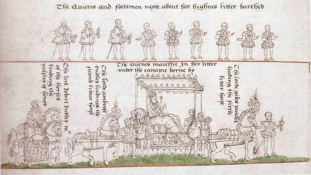 The coronation procession of Queen Elizabeth I of England, 1559 AD, with Robert Dudley in the rear, considered to be the highest position after the queen herself. (Public domain)