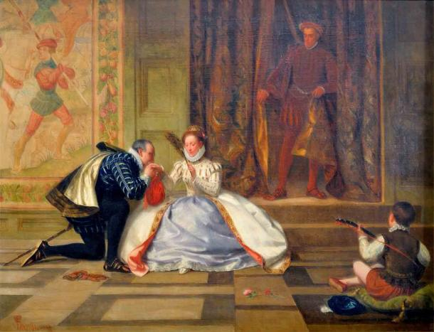 The death of Amy Robsart did not end Robert Dudley's ambitions, nor did it remove him entirely from Queen Elizabeth I's favor. (William Frederick Yeames / Public domain)