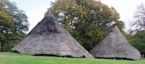 Les deux maisons rondes répliques de l'âge du fer où des signes de l'âge du plastique ont été trouvés.  (H. Mytum / Antiquity Publications Ltd)
