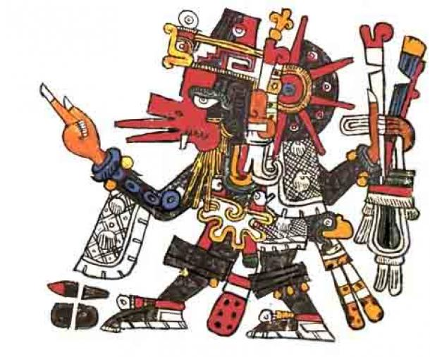 Quetzalcoatl using the attributes of Ehecatl the wind god, thus representing the winds that bring the rain. From the Codex Borgia. (Public Domain)