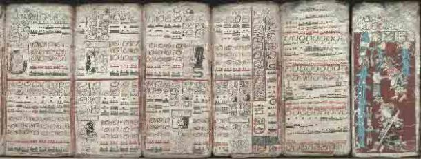 Six sheets of the Dresden Codex (pp. 55-59, 74) depicting eclipses, multiplication tables, and the flood. (Public Domain)