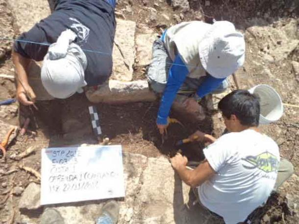 Archaeologists excavating cist burial at the Tamanache site, Mérida, Yucatán. (WSU) Two of the Maya drug containers analyzed in the study came from this excavation.