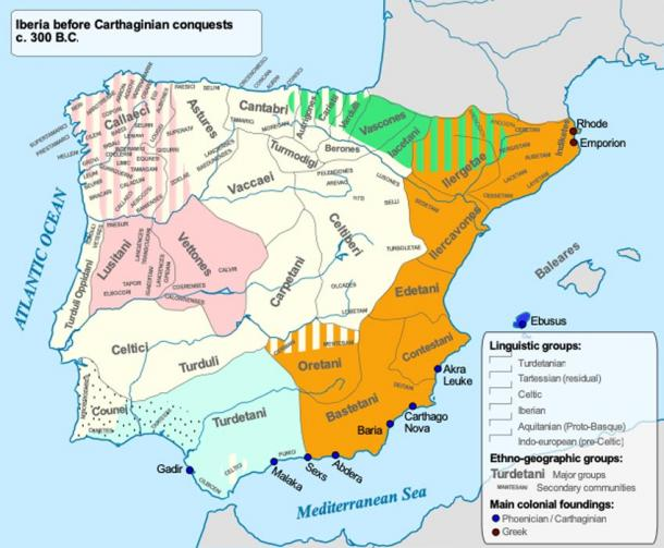 Iberia before the Carthaginian conquests showing the location of the various tribes of the area. (Alcides Pinto)