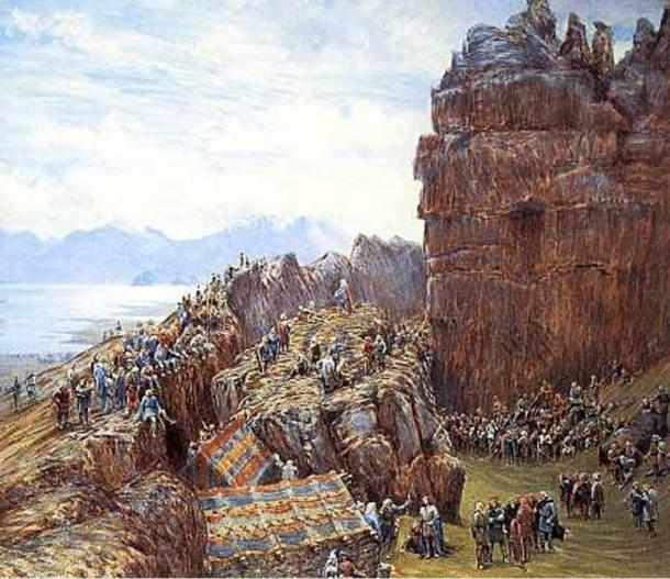 This painting depicts an early meeting of Iceland's Althing with the Lögsögumaður (Lawgiver) calling the body to order at the Lögberg (Law Rock).