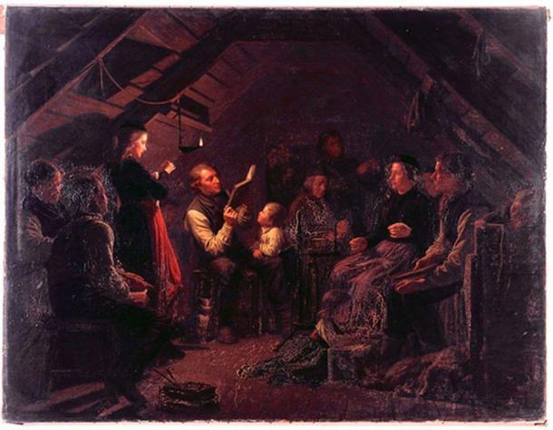 Painting of Icelandic family in kvöldvaka, by August Schiøtt (1823 - 1895)