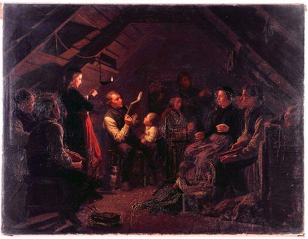 Painting of Icelandic family in kvöldvaka, by August Schiøtt (1823 - 1895)