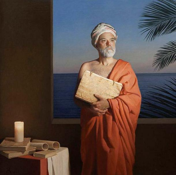 Idealized portrait of Ibn Yubair. Painted by Guillermo Muñoz Vera. (Aroconchichon/CC BY SA 4.0)