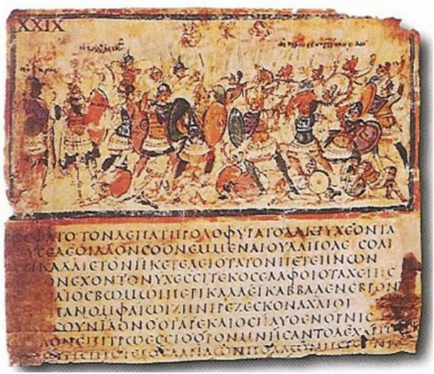 Iliad, Book VIII, lines 245–53, Greek manuscript, late 5th, early 6th centuries AD.