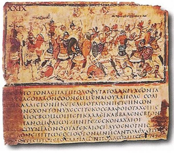 Iliad, Book VIII, lines 245–53, Greek manuscript, late 5th, early 6th centuries AD.