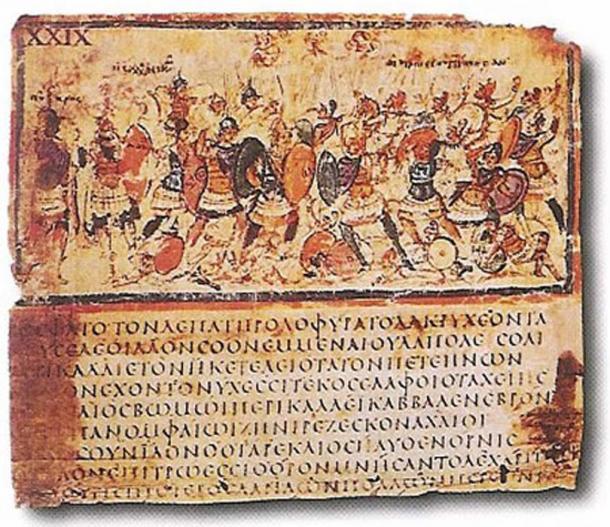 Iliad VIII 245-253 in codex F205 (Milan, Biblioteca Ambrosiana), late 5th or early 6th c. AD. (Public Domain)