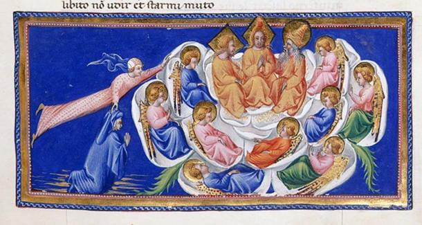 Illuminated manuscript, Dante's Divine comedy. (Public Domain)