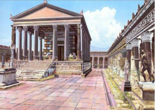 Illustrated reconstruction of how the Temple of Apollo in Pompeii may have looked before Mount Vesuvius erupted. (DuendeThumb / CC BY-SA 3.0)
