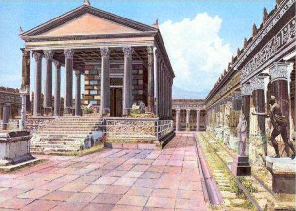 Illustrated reconstruction of how the Temple of Apollo in Pompeii may have looked before Mt. Vesuvius erupted. (CyArk / CC BY-SA 3.0)