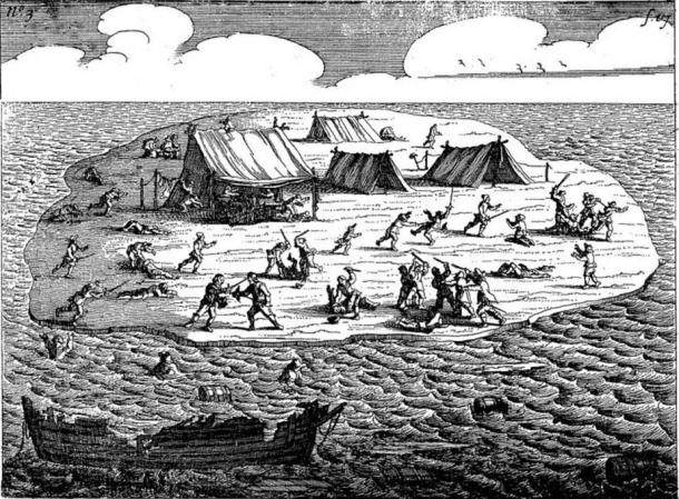 Illustration from a 1647 Dutch book Ongeluckige voyagie, van't schip Batavia