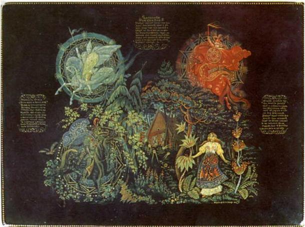 Illustration for the fairy tale 'Vasilisa the Beautiful.'