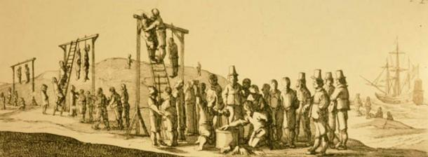 Illustration from 1649 edition of Ongeluckige Voyagie showing mutineers losing their hands and being hanged.