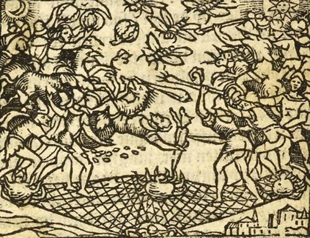 Illustration from a 1647 Dutch edition of Vera Historia showing the people of the Moon and the people of the Sun at war for the right to colonize the Morning Star, their aerial battle taking place on an enormous battlefield woven by giant spiders. (Public Domain)