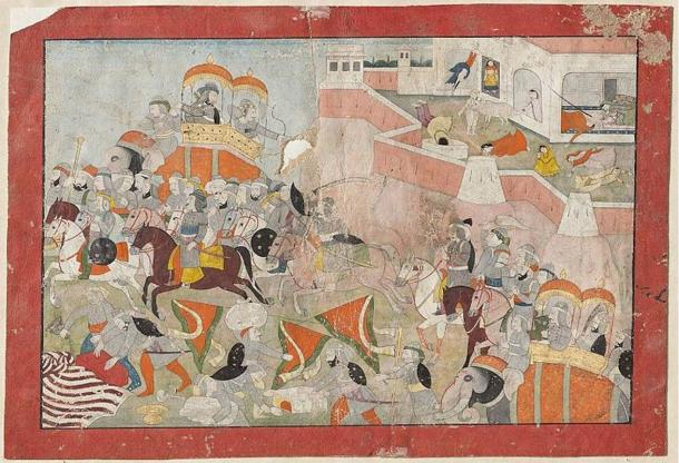 Illustration of Alauddin Khilji in the foreground, as the women commit suicide in the background. (1825)