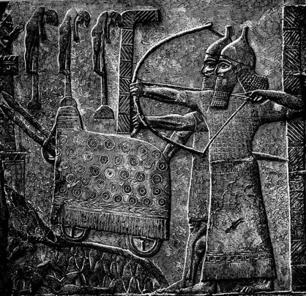 Illustration of Assyrian relief of Tiglath-Pileser III besieging a town.