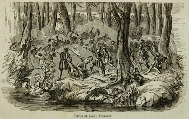 Illustration of Battle of Point Pleasant. 1854