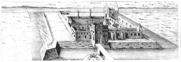 Illustration of Borgeby Castle, 1680