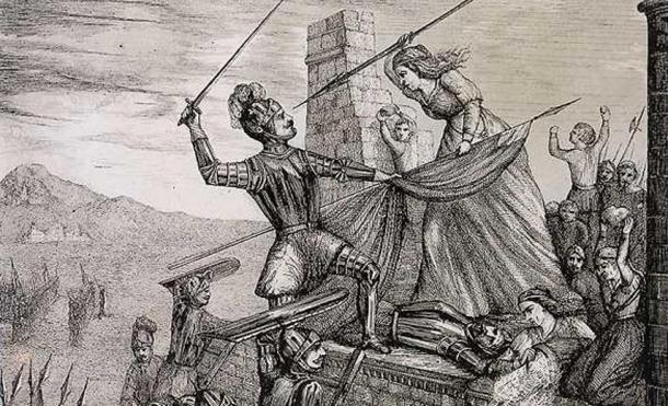 Illustration of Maria Pita battling the British soldiers.