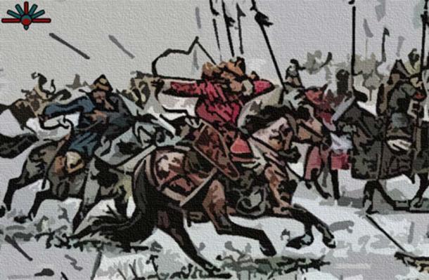 Illustration of Mongol mounted warriors