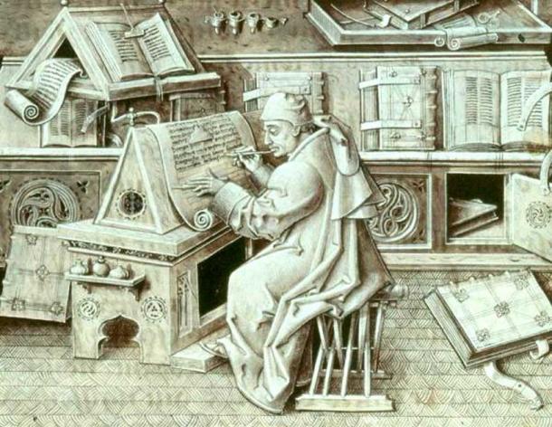 Illustration of a European scribe, Jean Miélot, at work.