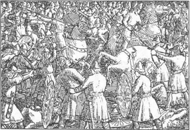 Illustration of a battle. Harald Hardraada saga, Heimskringla.