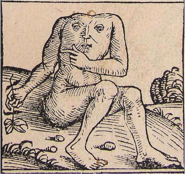 Illustration of a blemmye from the Nuremberg Chronicle.