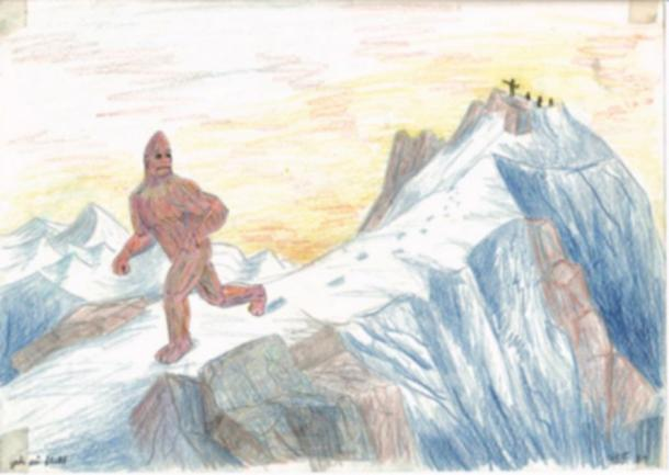 Illustration of a mythical Yeti upon descriptions from Desmond Doig and sir Edmond Hillary. (Public Domain)