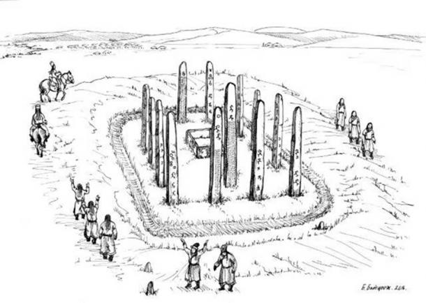 Illustration of a ritual conducted around the monument (drawn by former director of the National Museum of Mongolian History) (September 2016) (Image: Osaka University and Institute of History and Archaeology, Mongolian Academy of Science)