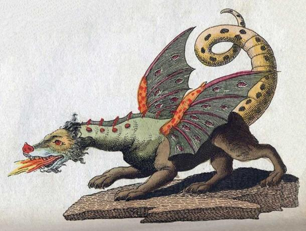 Illustration of a winged, fire-breathing dragon. Friedrich Justin Bertuch (Public Domain)