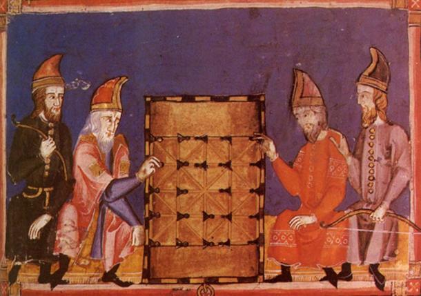 Illustration of alquerque being played, from 'Libro de los juegos' (13th century).