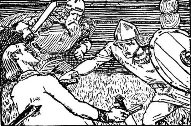 Illustration of bloody battle during an Icelandic Saga involving Haakon Sigurdarson (Haakon Jarl). 1899.